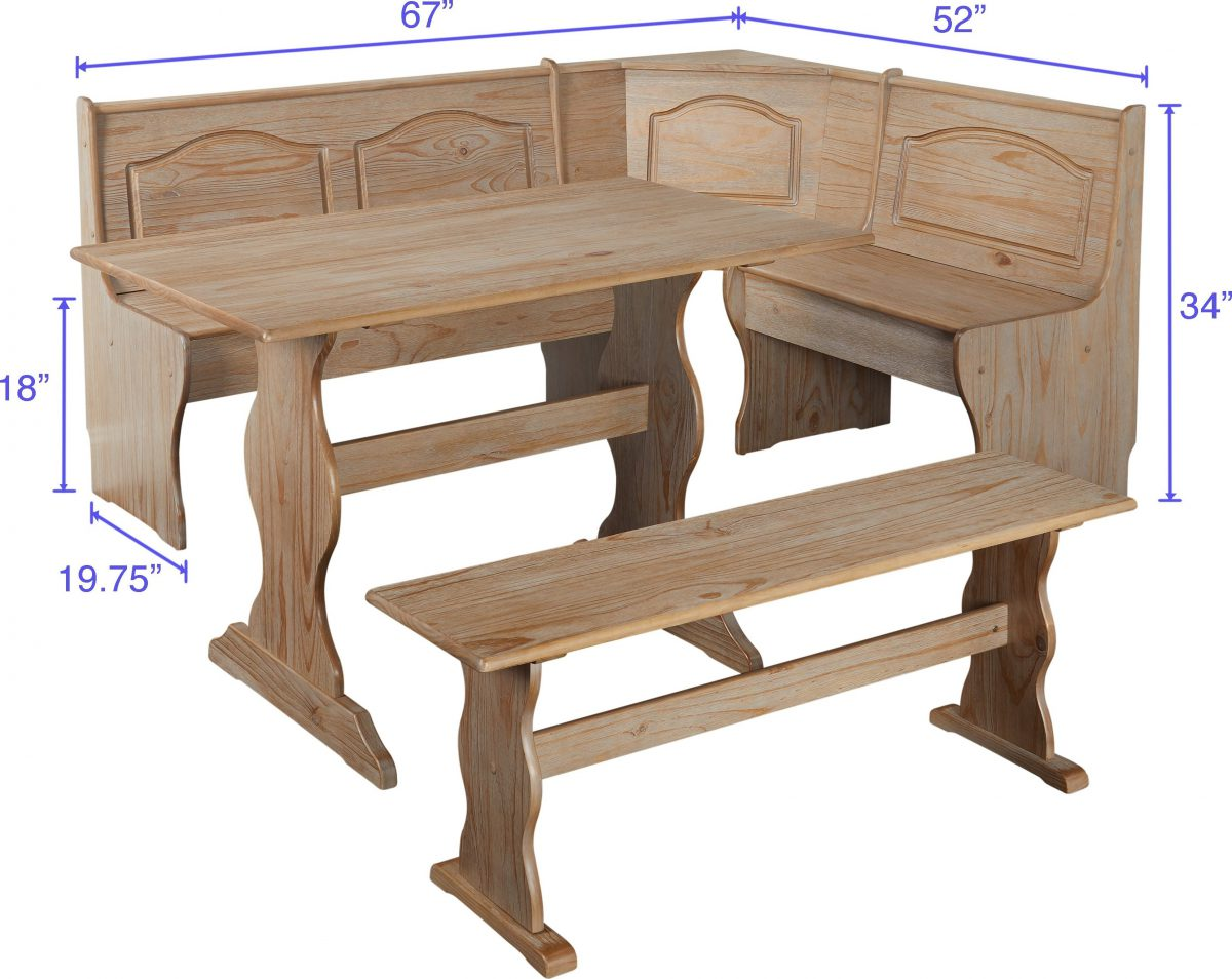 Simple Living Knox 3-Piece Nook Set with Hidden Storage