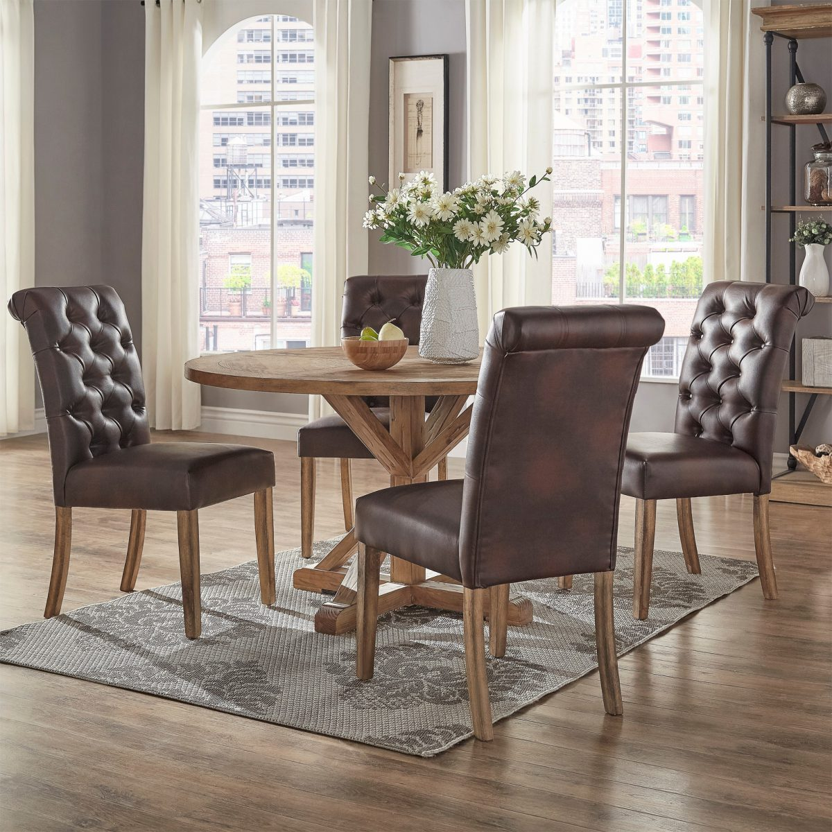 Oak Round Seat Dining Chair