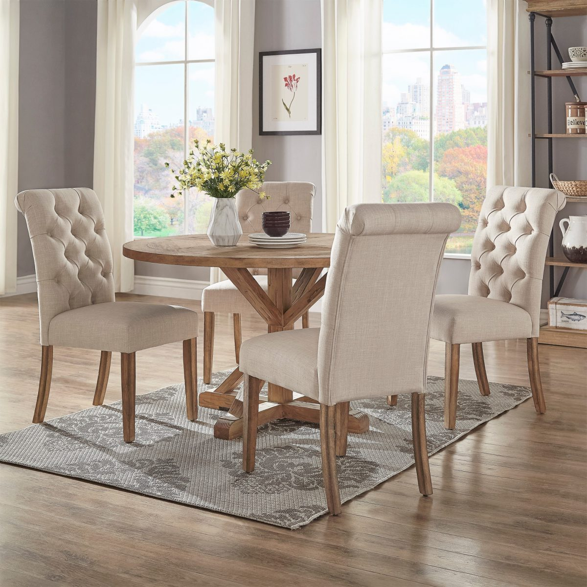 Benchwright Rustic X Base 48 Inch Round Dining Table Set By INSPIRE Q  Artisan