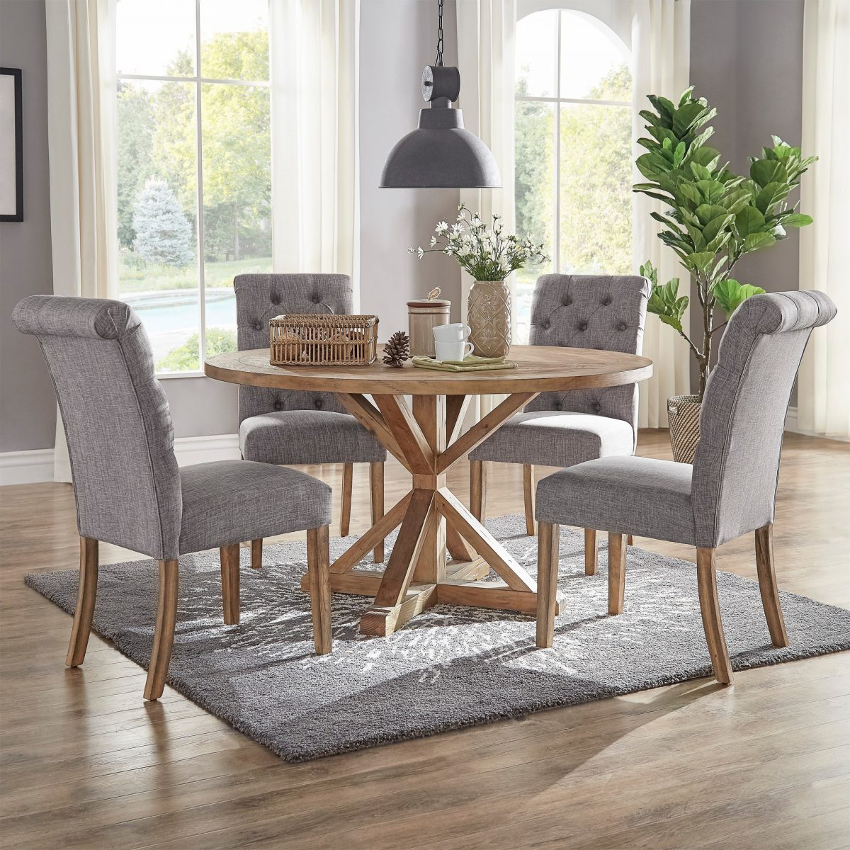 Benchwright Rustic X Base 48 Inch Round Dining Table Set