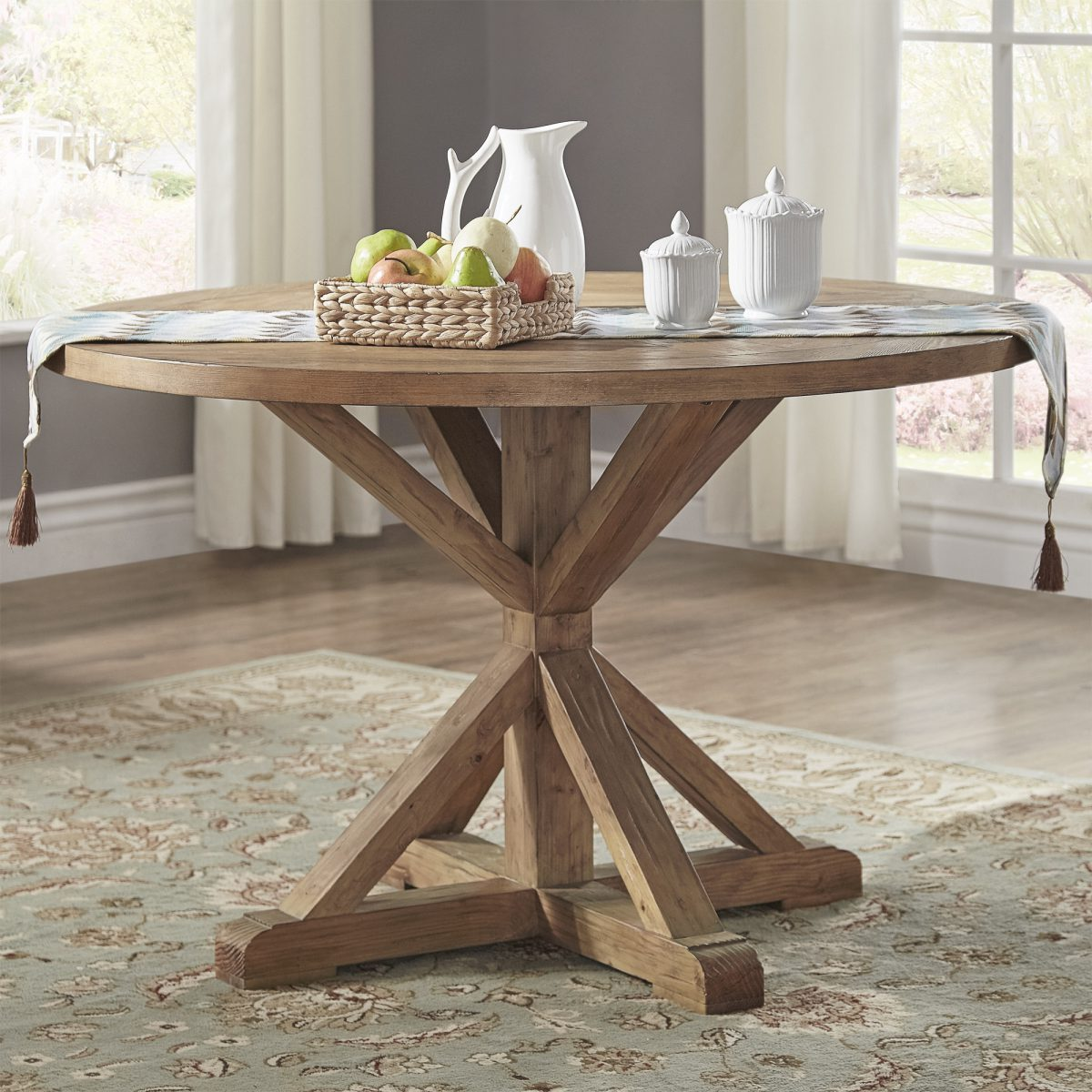 Benchwright Rustic X-base 48-inch Round Dining Table Set