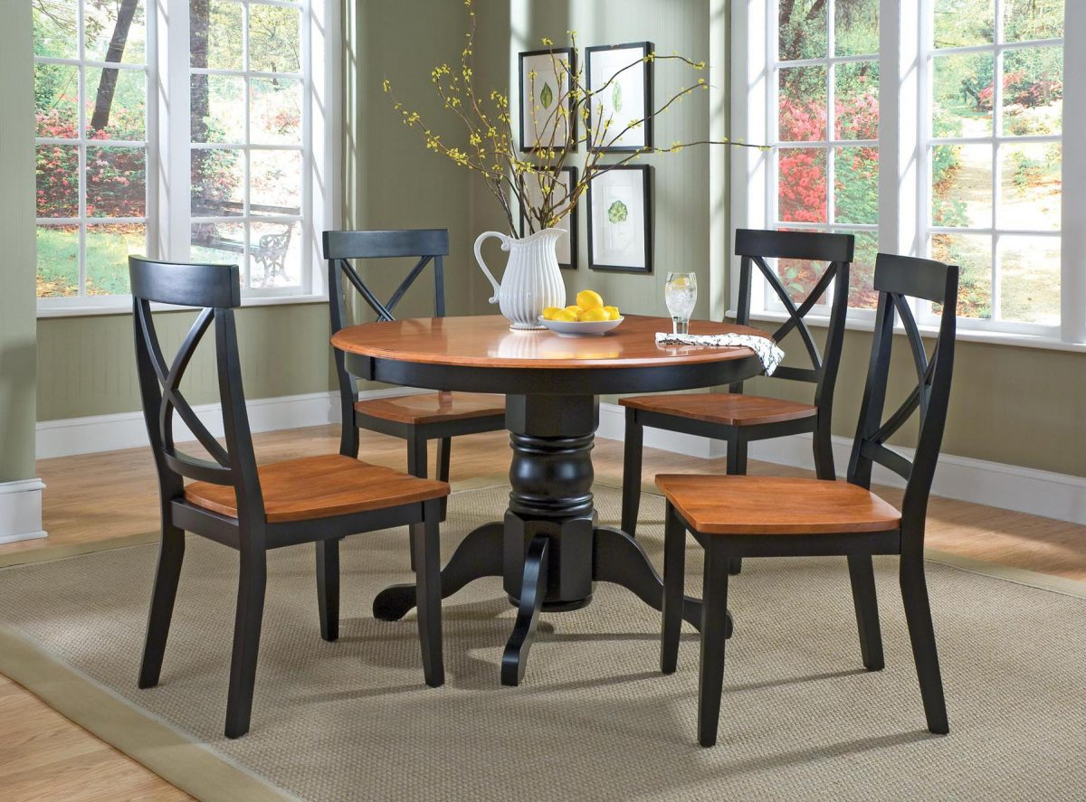 Black Cottage Oak 5 Piece Dining Furniture Set By Home Styles Shoppeep