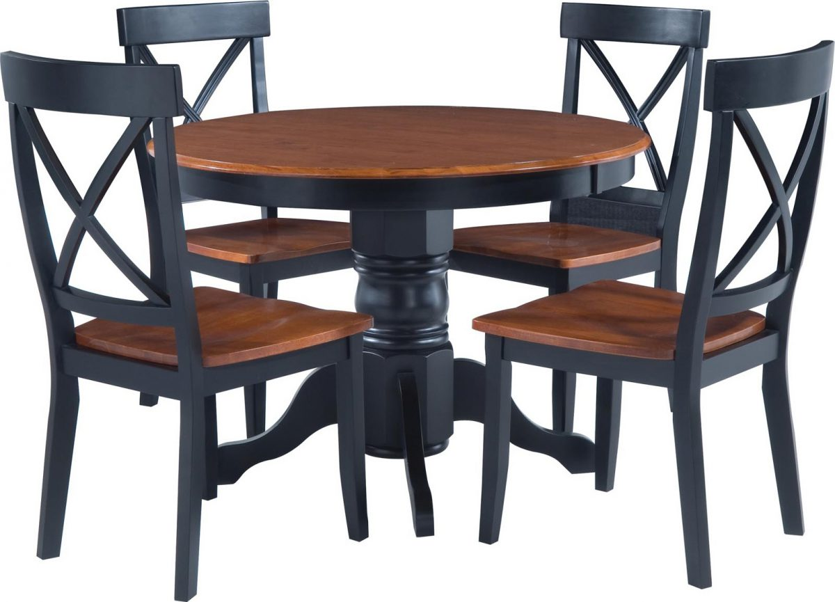 Black/Cottage Oak 5-piece Dining Furniture Set by Home Styles